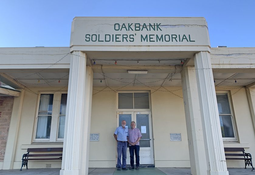 Tony Hervè (chairman) and Tony White (secretary) of the Oakbank Soldiers' Memorial Hall committee. The new committee injects enthusiasm into the much-loved community owned Hall. Don't miss the next Saturday Market, 13th March, more information on Facebook