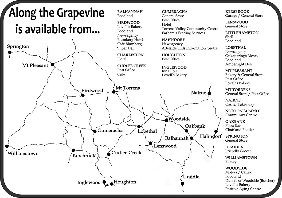 Along The Grapevine Distribution Map Adelaide Hills