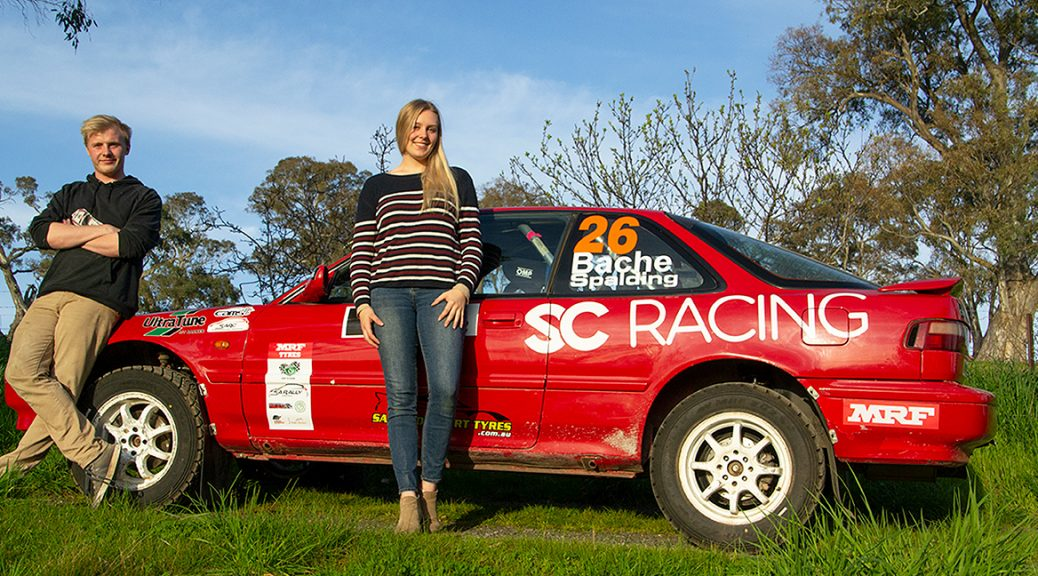 Zayne Admiraal and Molly Spalding with Molly's K-swapped Honda Integra for the 2019 Adelaide Hills Rally