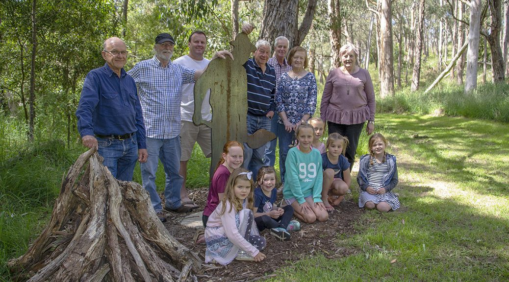 Lenswood and Forest Range community members with the Charcoal Burner sculpture on the Lenswood Centennial Park Heritage Trail